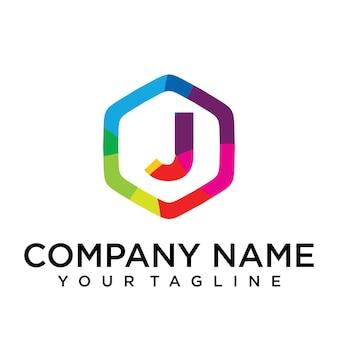 J brief logo pictogram zeshoek ontwerpsjabloon element