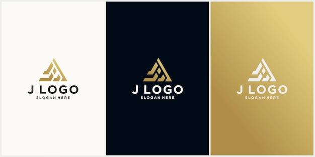 J driehoek logo sjabloonontwerp j zeshoek eerste monogram met gouden kleur luxe logo j
