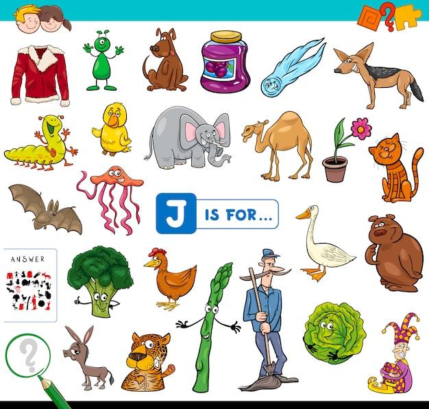 J is voor educatief spel voor kinderen