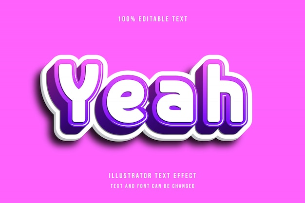 Ja, 3d bewerkbaar teksteffect roze paars moderne schaduw komische stijl