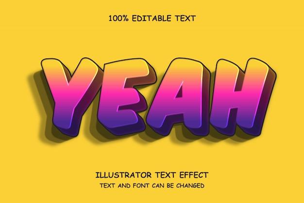Ja, 3d bewerkbare teksteffect moderne schaduw komische stijl