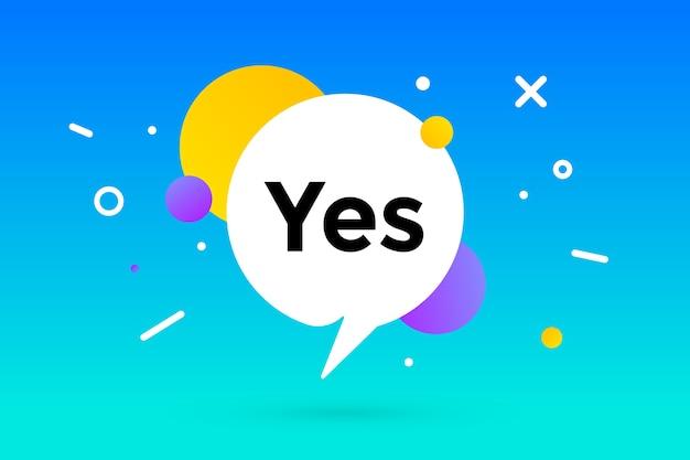 Ja. banner, tekstballon, poster en stickerconcept, geometrische memphis-stijl met tekst ja.