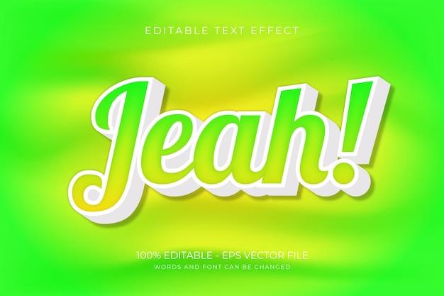 Ja! bewerkbaar teksteffect premium vector