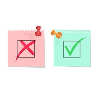 Ja en nee vinkjes groen vinkje ok en rood geen pictogrammen symbolen vinkje