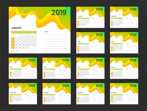 Jaar 2019, kalenderontwerp.