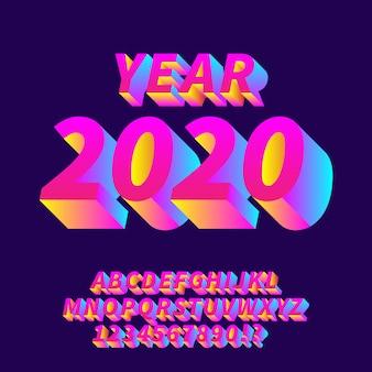 Jaar 2020 nieuwe gradiënt alfabetten