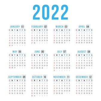 Jaar 2022 kalender horizontale vector ontwerpsjabloon eenvoudig en schoon ontwerp