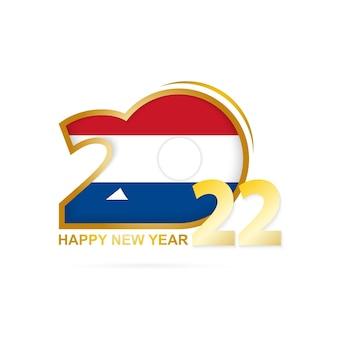 Jaar 2022 met het patroon van de nederlandse vlag. gelukkig nieuwjaar ontwerp.