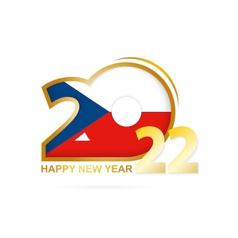 Jaar 2022 met het patroon van de vlag van de tsjechische republiek. gelukkig nieuwjaar ontwerp.