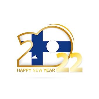 Jaar 2022 met het patroon van de vlag van finland. gelukkig nieuwjaar ontwerp.