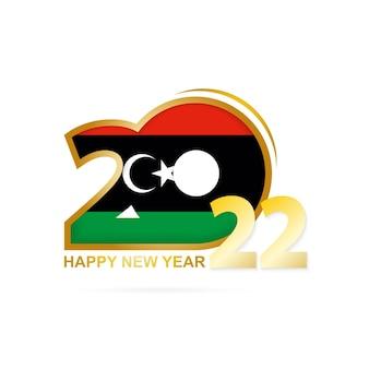 Jaar 2022 met het patroon van de vlag van libië. gelukkig nieuwjaar ontwerp.