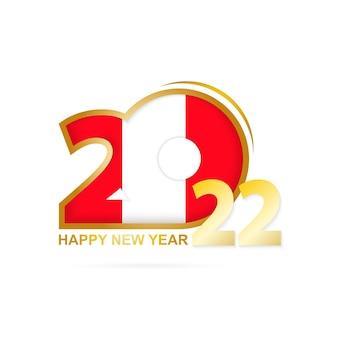 Jaar 2022 met het patroon van de vlag van peru. gelukkig nieuwjaar ontwerp.