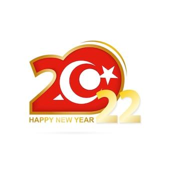 Jaar 2022 met het patroon van de vlag van turkije. gelukkig nieuwjaar ontwerp.
