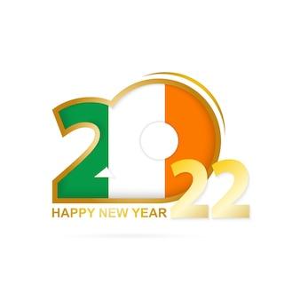Jaar 2022 met ierland vlag patroon. gelukkig nieuwjaar ontwerp.