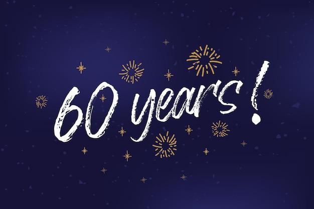Jaar kaart banner th verjaardag groet bekrast kalligrafie tekst woorden gouden sterren handgetekende