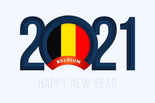 Jaar met belgische vlag op wit wordt geïsoleerd