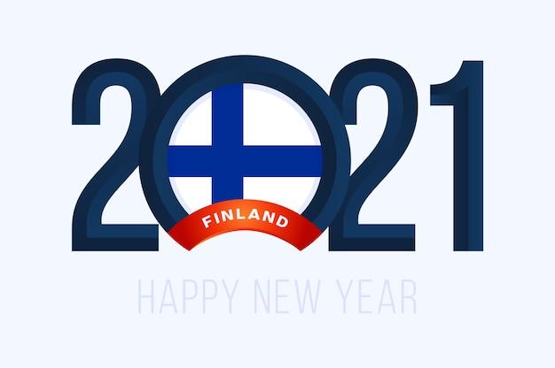 Jaar met de vlag van finland op wit wordt geïsoleerd Premium Vector