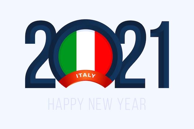 Jaar met de vlag van italië op wit wordt geïsoleerd dat