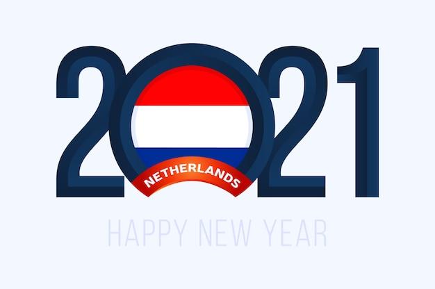 Jaar met nederland vlag geïsoleerd op wit