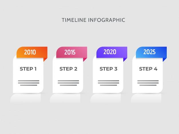 Jaar tijdlijn infographic elementen met vier stappen voor het bedrijfsleven