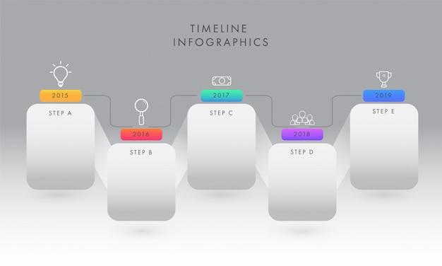 Jaar tijdlijn infographic elementen met vijf stappen voor het bedrijfsleven