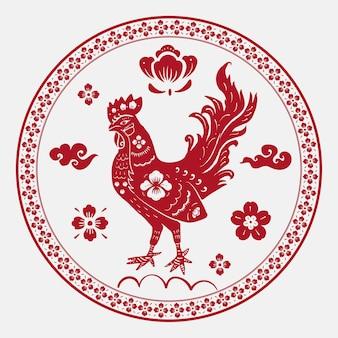 Jaar van haan badge vector rode chinese horoscoop dier