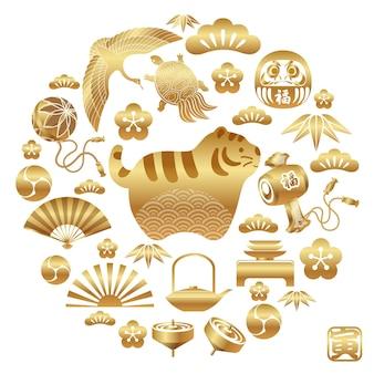 Jaar van het gouden tijgerpictogram en andere japanse vintage geluksbrengers die het nieuwe jaar vieren