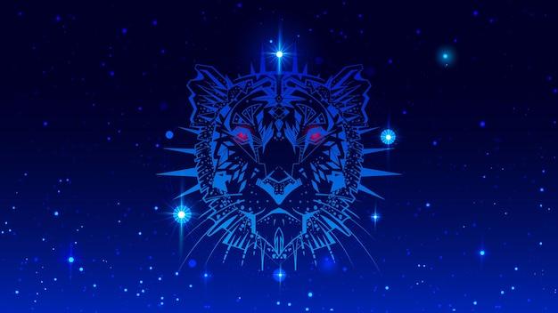 Jaar van water tijger 2022 hoofd dier symbool ornament in nachtelijke sterrenhemel. vector illustratie