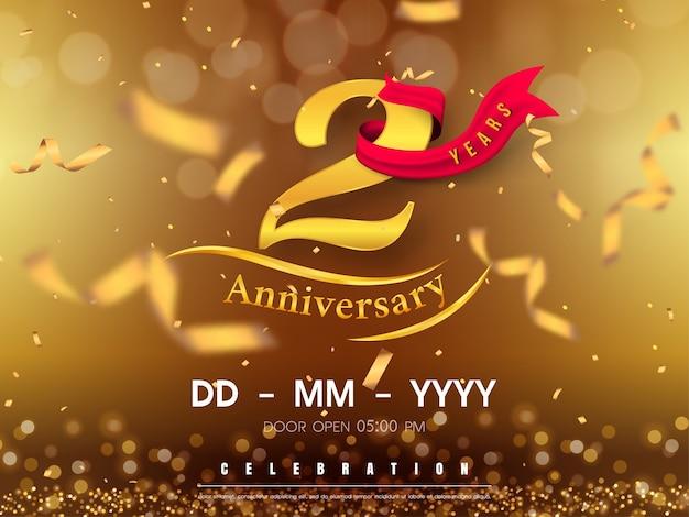 Jaar verjaardag logo sjabloon op gouden achtergrond.