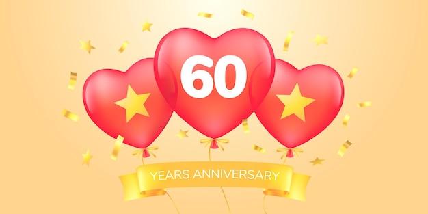 Jaar verjaardagslogo, pictogram. sjabloon banner met hete lucht ballonnen