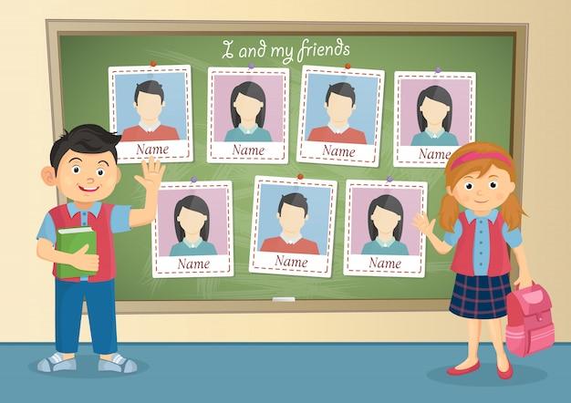 Jaarboek voor school over schooljongen en schoolmeisje