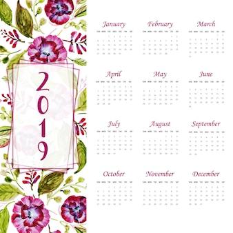 Jaarkalender 2019 met aquarel bloemen & bladeren