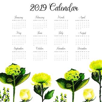 Jaarkalender 2019 met aquarel bloemen