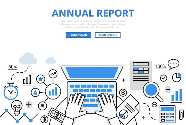 Jaarlijks financieel verslag concept platte lijnstijl. handen werken laptop rekenmachine document grafiek afbeelding.