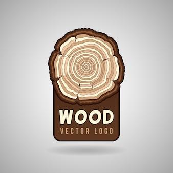 Jaarlijkse boomgroei ringen, kofferbak doorsnede in vector logo sjabloon. boom in een besnoeiing, illustratie r