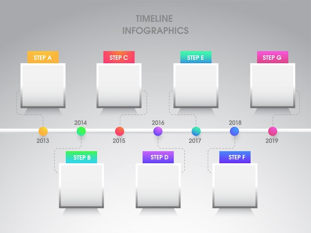 Jaarlijkse groei of succes concept infographic elementen met zeven