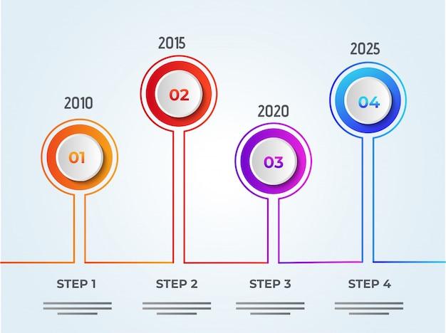 Jaarlijkse groei of succesconcept infographic elementen met vier