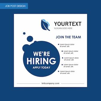 Jaarverslag job post flyer sjabloon, blauw cover ontwerp, spa, advertentie, tijdschrift advertenties, catalogus