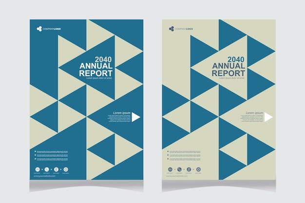 Jaarverslagomslag met blauwe driehoeken