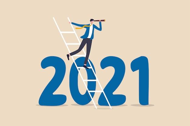 Jaarvisie voor zakelijke vooruitzichten om de voorspelling van de toekomst te zien