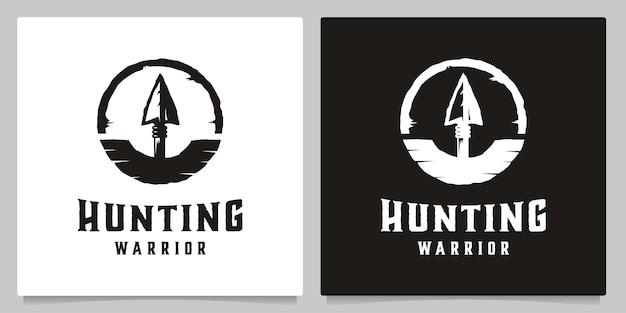 Jacht pijl speer vintage badge logo ontwerp