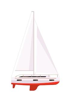 Jachtboot met zeil voor waterraces geïsoleerd op witte achtergrond