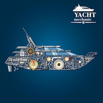 Jachtmechanica-schema met motorboot gevormd uit motoronderdelen en anker