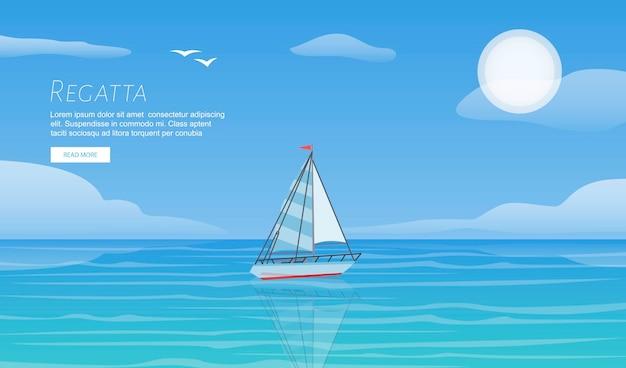 Jachtregatta op golf blauw overzees oceaanmalplaatje. yachting zomervakantie sport reizen avontuur.