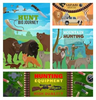 Jachtsportdieren, jagersuitrusting en safari-ontwerp