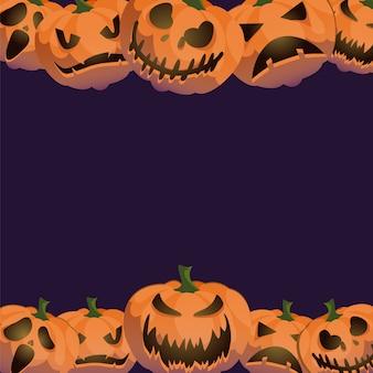 Jack-0-lantern halloween achtergrond frame decoratie