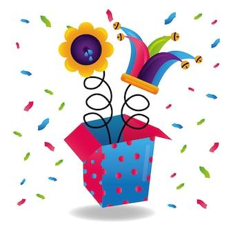 Jack in de doos jesterhoed en bloemstunt grappige confetti