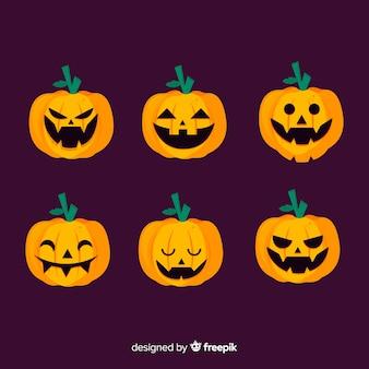 Jack o-lantaarn platte halloween-pompoen op violette achtergrond