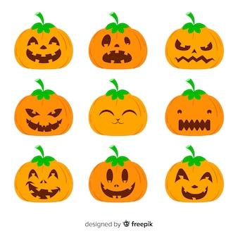 Jack o lantaarnpompoen met grappige gezichten voor halloween