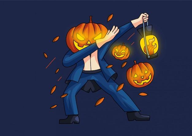 Jack o'lantern deppen stijl halloween schattig